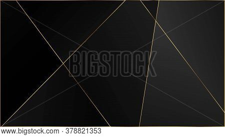 Black Premium Polygon Texture. Gold Lines Triangular Luxury Frame. Elegant Dark Platinum Chic Shapes