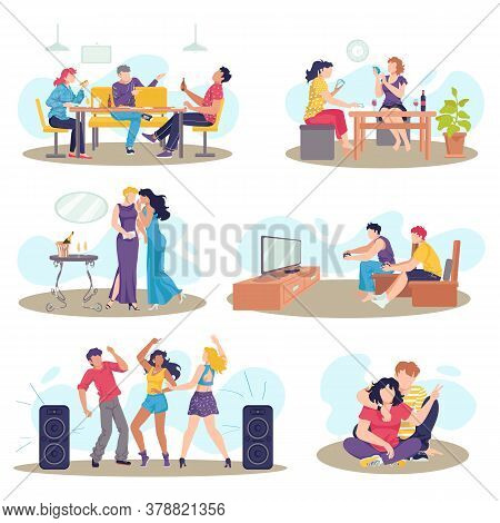 Friends Together Set Of Friendly People Vector Illustrations. Friendship, Relationship Between Man A