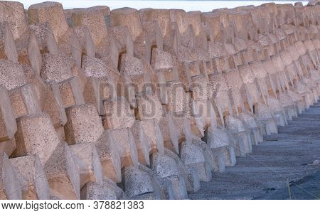 Neatly Stacked Tetrapods Preventing Coastal Erosion, Northern Japan