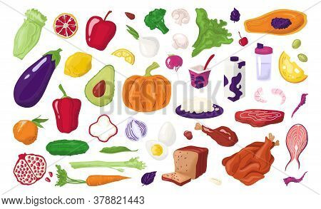Healthy Foods, Nutrition Set Fresh Organic Fruits, Meat, Fish, Milky Products And Vegetables For Die