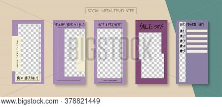 Social Stories Cool Vector Layout. Tech Sale, New Arrivals Story Layout. Blogger Minimal Design, Soc