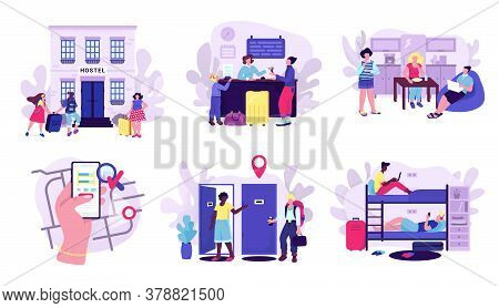 Hostel And Tourists Accomodation Set Of Vector Illustrations. Room In Hostel For Stay At Night, Trav