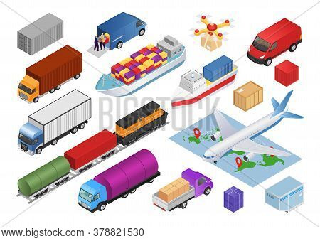 Logistics Isometric Set With Transport Cargo Delivery 3d Icons Isolated Vector Illustrations. Transp