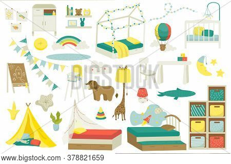 Kids Furniture For Baby Room Or Playroom Design, Set Of Vector Illustration. Nursery Interior With T