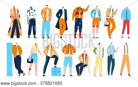 Man Fashion Styles, Stylish Male Models In Clothing, Set Of Isolated Vector Illustration. Cartoon Fa