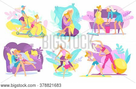 Mother And Daughter Together Performing Daily Activities, Reading Book, Doing Sport Fitness, Dancing