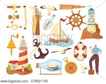 Sea Marine And Ocean Elements Collection, Nautical Vector Illustrations Icons Set. Marine Adventure