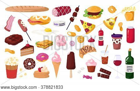 Unhealthy Food For Street Cafe, Fast Food Icons Set With Hamburger, Sausage, Sandwich, French Fries