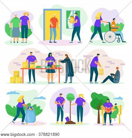Volunteers Help And Charity Set With People Care, Helping Seniours, Invalids And Poor, Social Suppor