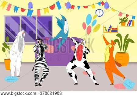 Animal Party With Costumes, Boys And Girls Dance In Animal Costumes For The Masquerade Vector Illust