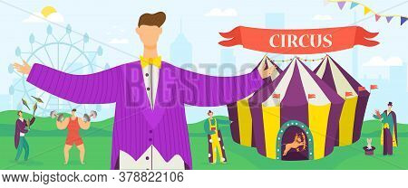 Welcome To Circus Carnival Entertainment Show Horizontal Banners Of Animals Show And Performance Wit