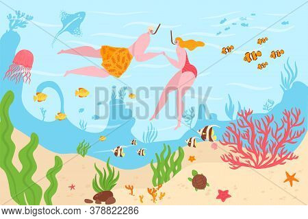 Underwater In Tropical Coral Reefs Ocean Divers Man And Woman Dive Among Marine Fish Vector Illustra