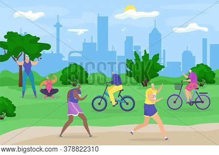 Eldery Senior People In Park, Active Lifestyle For Old Retired, Jogging, Bicycling And Doing Exercis