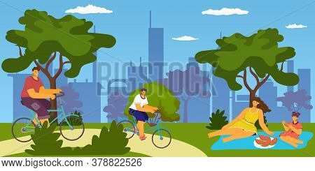 Family Outdoor In City Park Activities, Bicycling And Picnic, Eating, Having Fun Together, Vacation