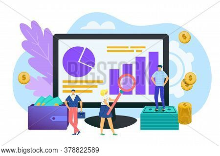 Investment Analysis, Finances Concept In Flat Design Vector Illustration. Development, Data Research