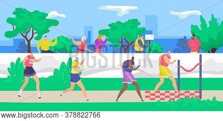 Marathon, Jogging Runners At Finish Line, Sport Running Group Concept Flat Vector Illustration. Peop