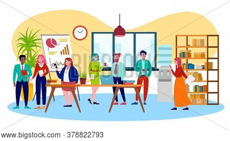 Multicultural Coworking Business Team And People Center, Business Meeting Vector Illustration. Multi