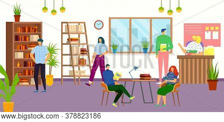 Library Interior With People, Reading Books Students, Knowledge And Education Vector Illusration. Li