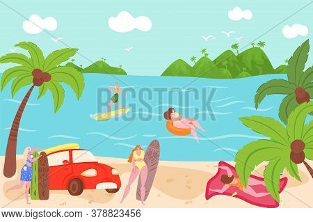 Swimming People In Summer Outdoors In Swimwear Swim Together And Rubber Ring Floating In Sea Water V