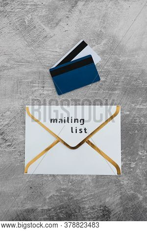 Email Marketing And Promoting Online Sales Concept, Email Icon With Mailing List Label And Payment C