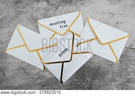 Inbox Organization And Clean-up Concept, Group Of Email Envelopes With Labels For Spam And Mailing L