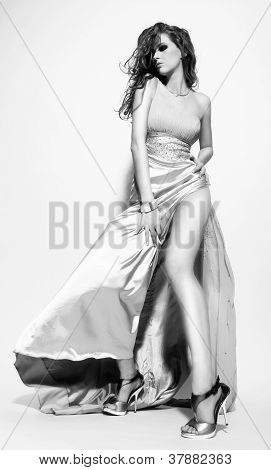 Fashion Model with Long Dress