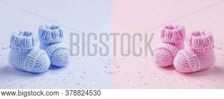 Pair Of Baby Booties, Shoes On The Blue And Pink Background, Cozy Conceptual Idea. Guess Gender Of T