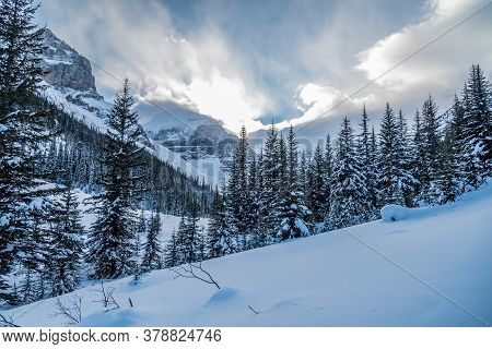 Lake Louise In Banff Park In Winter Time, Alberta, Canada