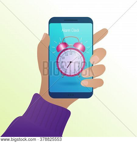 Alarm Clock On Smartphone Screen. Male Hand Holding Modern Device With Alarm Clock Application On Sc