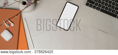 Worktable With Clipping Path Smartphone, Laptop, Stationery, Accessories, Decorations And Copy Space