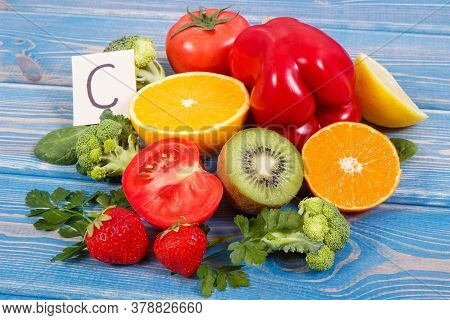 Fresh Ripe Fruits And Vegetables As Sources Of Minerals Containing Vitamin C, Dietary Fiber And Mine