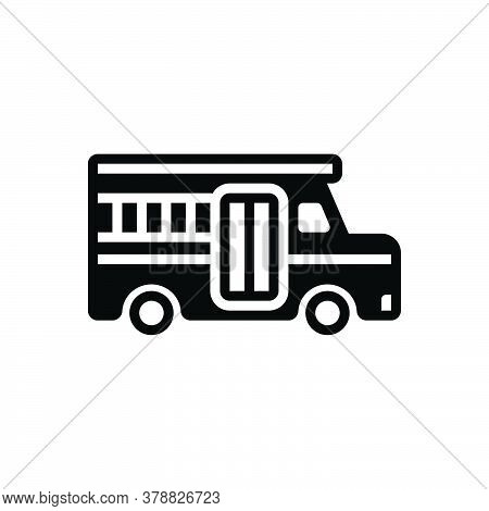 Black Solid Icon For School-bus Bus School Speed Wheel Education Travel Safety Student Transport Van