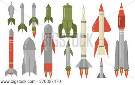 Various Ballistic Missiles Flat Icon Set. Dangerous Explosive Military Rocket For Air Strike Isolate