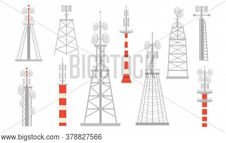 Various Radio Towers Flat Icon Set. Wireless Satellite Towered Wave Transmitters For Broadcast Isola