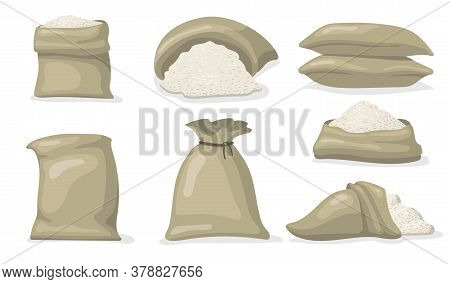 Various Sacks Of White Rice Flat Icon Set. Cartoon Large Bags And Big Packs With Raw Grains Of Rice