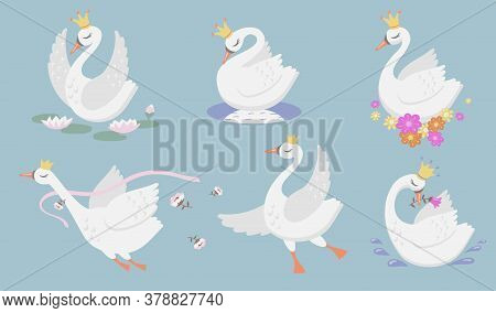 Cute Princess Swan Flat Icon Set. Cartoon Beautiful Swan Or Goose In Gold Crown And Floral Graphic I