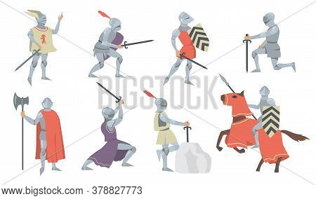 Various Medieval Knights Flat Icon Set. Chivalry Princes, Soldiers And Fighters In Metal Armor With