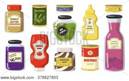 Various Canned Goods From Supermarket Flat Icon Set. Peanut Butter, Olives, Dill Pickles, Mustard, T