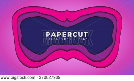 Gloomy Dark Papercut Layers Vector Illustration. Abstract Background Design Template. Pink Magenta P