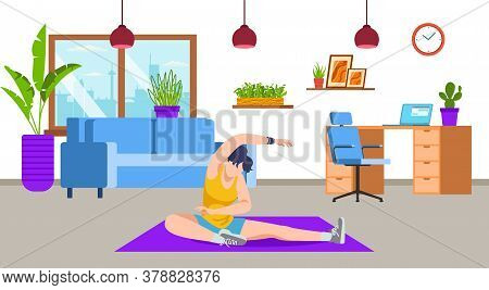 Active Girl Doing Yoga, Workout, Sport Exercise, Fitness At Home Living Room Vector Illustration. Sp