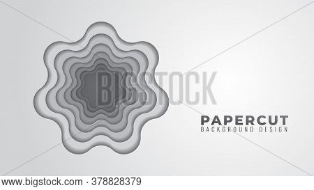 Monochrome Wavy Hole Papercut Layers Vector Illustration. Abstract Background Design Template. Gray
