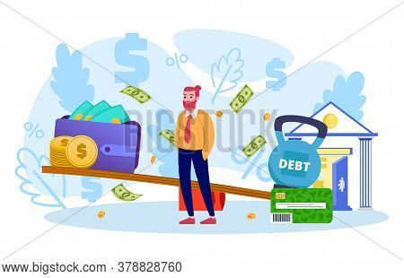 Bank Debt, Money Loans And Credit Payments In Crisis Economy Flat Vector Illustration. Sad Businessm