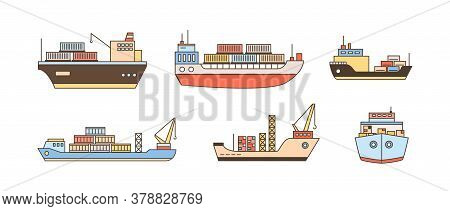 Set Of Modern Cargo Ship Icons With Loading Crane, Containers. Commercial Trade Goods Shipment, Ship