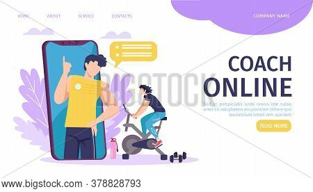 Online Coach Training Landing Page Template Vector Illustration. Smartphone With Fitness Instructor,