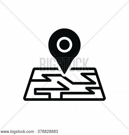 Black Solid Icon For Map Location Pointer App Thumbtack Localization Navigation Pin Place Route Gps