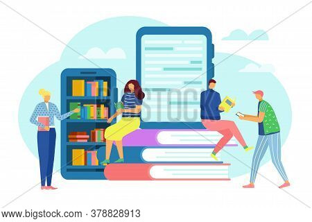 Digital Library Concept, Internet Education And Study, E-books Technology Vector Flat Illustration.