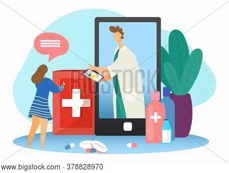Doctor Online, Medical Consultation In Internet, Patients Health Care Technology Flat Vector Illustr