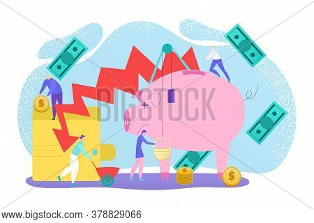 Financial Crisis Economic Stock Market Recession, Inflation In Banking Economy And Finances Concept