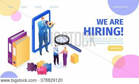 Hiring, Recruitment, Career And Job Employment Landing Page Vector Illustration. Job Interview, Recr