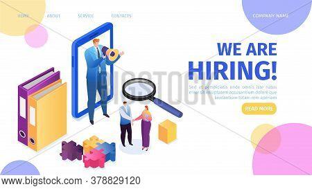Hiring, Recruitment, Career And Job Employment Landing Page Vector Illustration. Job Interview, Recr